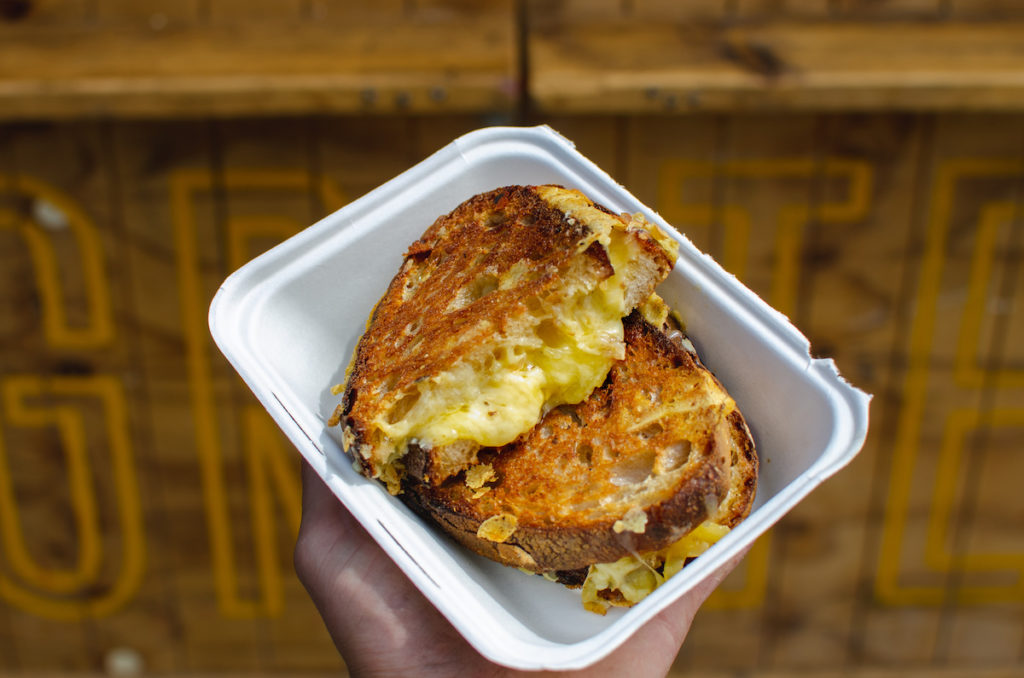 Close up cheese toastie at the harbourside market